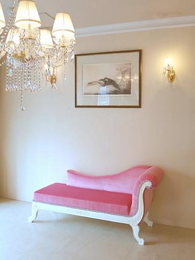 薔薇の令嬢ソファ W150cm ホワイト色 肘置き右側 ベビーピンクの張地
