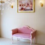 カウチソファ 薔薇の彫刻 ピンクドットモアレの張地のサムネイル