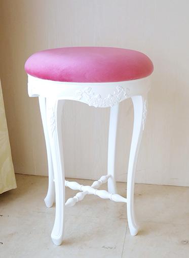 カウンタースツール H56cm ローズ&リボンの彫刻 スーパーホワイト色 ショッキングピンクのベルベット