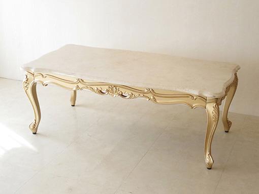 ビバリーヒルズ センターテーブル ゴールド色 大理石天板 クリームベージュ色