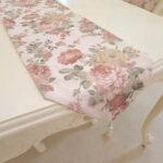 テーブルランナー 薔薇柄 ホワイトパールタッセル 200×28のサムネイル
