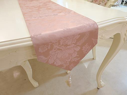テーブルランナー テーブルランナー アンピンクⅡ ホワイトパールタッセル 240×27