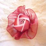 カルトナージュ 薔薇のオーナメント ローズレッドのオーガンジーのサムネイル