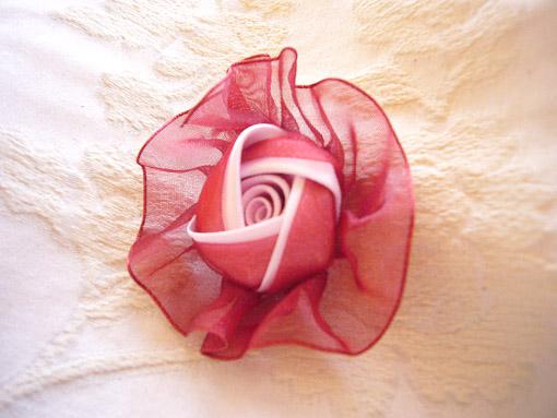 カルトナージュ 薔薇のオーナメント ローズレッドのオーガンジー