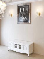 ラ・シェル ローボード120 天板スクエア お花模様の彫刻 ホワイトブラッシュアンティーク色