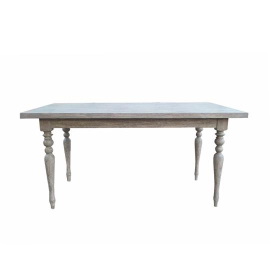 シャビーシック ローラン ダイニングテーブル 150 グレーラスティック色