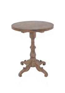 シャビーシック ジャン ラウンドテーブル 1本脚60cm ダークブラウンラスティック色