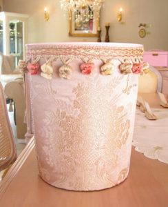 ダストボックス ピンク花かご柄
