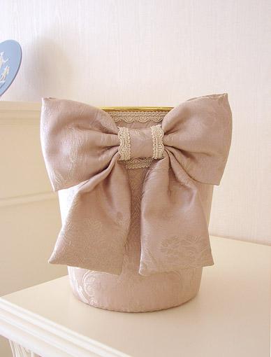 ダストボックス リボン ピンクの花かご柄