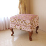 オットマン 猫脚 SH43cm 金華山織りピンク花かご柄 ライトブラウンの脚のサムネイル
