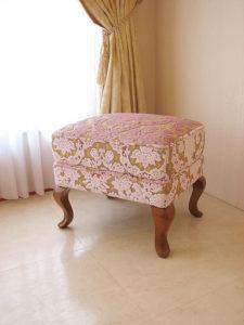 オットマン 猫脚 SH43cm 金華山織りピンク花かご柄 ライトブラウンの脚