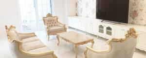 エレガントな輸入住宅に相応しい家具をオーダーメイドで製作させていただきました。