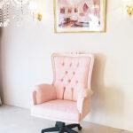 デスクチェア オードリーリボンの彫刻 バービーピンク色のサムネイル