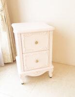 ラ・シェル サイドチェスト W40×H60cm 薔薇の彫刻 バービーピンク色