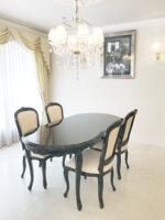 ラ・シェル ダイニングテーブル 180cm ブラックグロス色