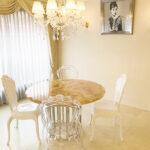 ラウンドテーブル シルバークローム×ピンクオニキス天板のサムネイル