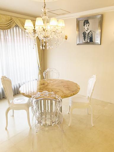 ラウンドテーブル シルバークローム×ピンクオニキス天板