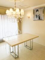 ダイニングテーブル W160 シルバークローム 螺鈿細工ホワイトパール天板