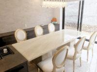 天然石 オニキス ナチュラル ダイニングテーブル240cm 2本脚 エレガンスライン