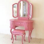 プリンセスドレッサー 女優リボンスタイル ショッキングピンク色 ショッキングピンクの張地のサムネイル