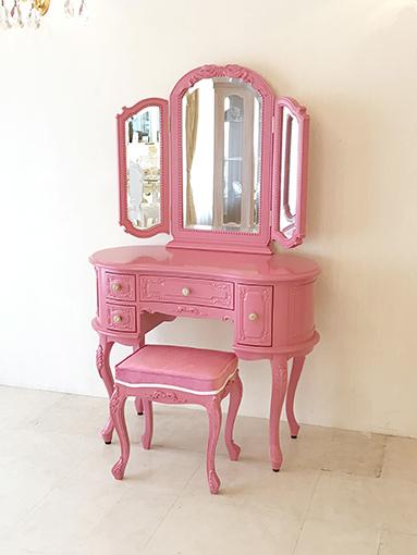 プリンセスドレッサー 女優リボンスタイル ショッキングピンク色 ショッキングピンクの張地