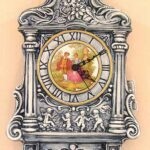 貴婦人の壁掛け時計 クラシックブルーの陶器のサムネイル
