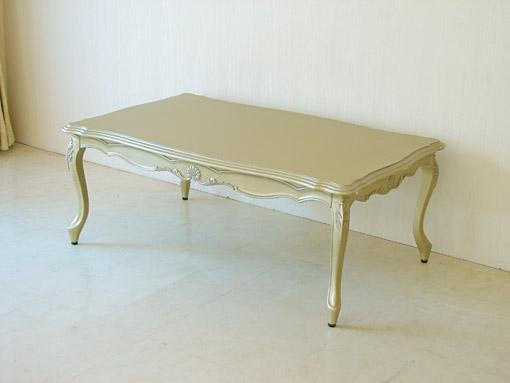 センターテーブル シェルの彫刻 アンティークゴールド色