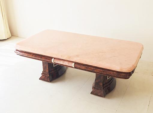 アフロディーテ センターテーブル マーブルブラウン色 大理石ピンクオニキスの天板