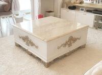 センターテーブル クラシックスタイル スーパーホワイト&ゴールド色 大理石天板 ロッソ