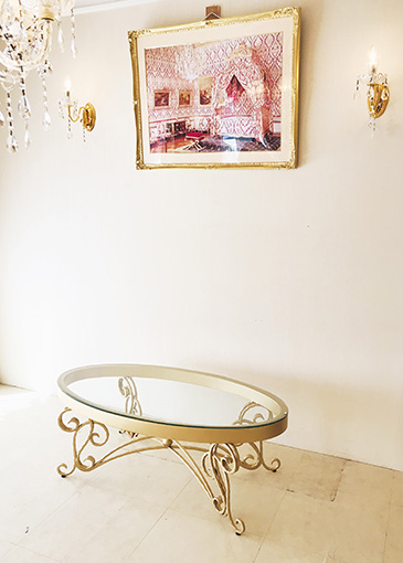 センターテーブル オーバル アイアン クラシック ゴールド色
