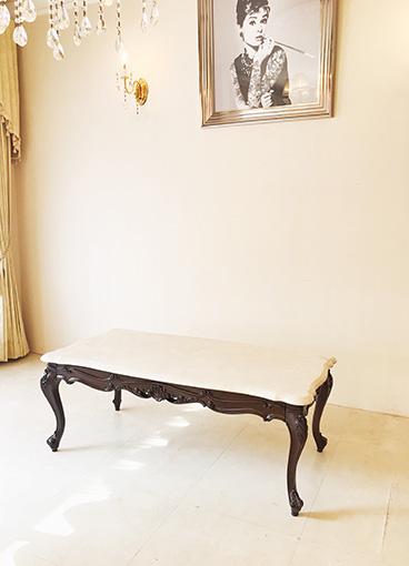 ビバリーヒルズ センターテーブル クリームベージュ 大理石天板 マホガニー色