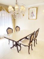 ベルサイユ ダイニングテーブル180 天板 スクエア ブラウン色 マーブルクリーム色天板