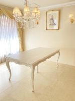 シャビーシック サラ ダイニングテーブル 180 中央サポート脚追加 ホワイトウォッシュラスティック色