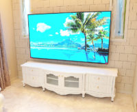 TVボード ラウンドデザイン 4点組立て式 W210cm ローズ&リボン イニシャルハート オードリーリボンの彫刻 スーパーホワイト色 クリスタルつまみ