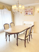 ラ・シェル ダイニングテーブル 180×100cm マホガニー色 ブラックアンティーク仕上げ(MAG色) クリームベージュ 大理石天板