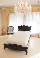 小悪魔スタイル シングルベッド バタフライの彫刻 ブラックグロス色