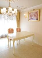 ビバリーヒルズ ダイニングテーブル W140 オードリーリボンの彫刻