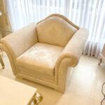 プリンセスソファ 1シーター D78cm ゴールド花かご柄 マンション搬入可(名古屋展示分)のサムネイル