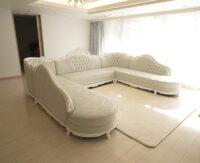 ヴィクトリア コーナーソファ ロココスタイル W340cm スーパーホワイト色 ロココブルーの張地 組立式