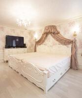 ラ・シェル セミダブルベッド 片側引出し付 オードリーリボンと薔薇の彫刻 ロマンティックスタイル ホワイト色