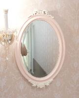 ウォールミラー オードリーリボンとローズの彫刻 バービーピンク&ホワイト色