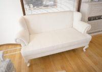 フレンチスタイル アームソファ 猫脚 W140cm ホワイトウォッシュ ラスティック色仕上げ