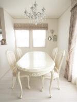 ラ・シェル ダイニングテーブル 180 オードリーリボンの彫刻 ホワイト色