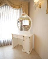 アフロディーテ ドレッサー W100cm ロココスタイルの彫刻 ゴールドの彩色 パワーストーン ホワイトロッククリスタルの装飾